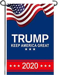 Patriotic Garden Flag Donald Trump 2020 Keep America Great President Election Garden Accessory Small American Flag Double Sided Holiday Outdoor Yard Home Outside Decoration, Blue and Red, 12x18 Inch