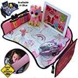 Kids Travel Tray for Girls -Toddler Car Seat Travel Play Tray with Reinforced Solid Surface,Sturdy Side Walls and Removal Mesh Pockets Seatbelt Pillow,Car Sticker,Perfect for car & plane rides Autozon