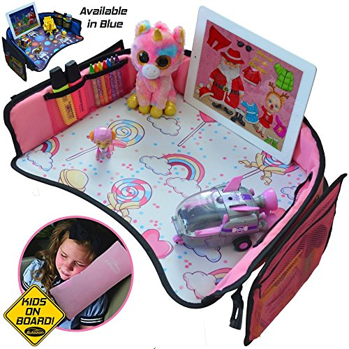 Travel Girl - Kids Travel Tray for Girls -Toddler Car Seat Travel Play Tray with Reinforced Solid Surface,Sturdy Side Walls and Removal Mesh Pockets Seatbelt Pillow,Car Sticker,Perfect for car & plane rides Autozon
