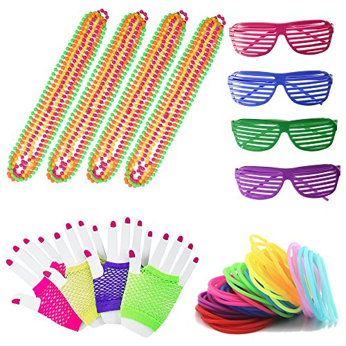 80s Retro Rock Pop Star Disco Dress-up Party Pack Supply Set (A) ()