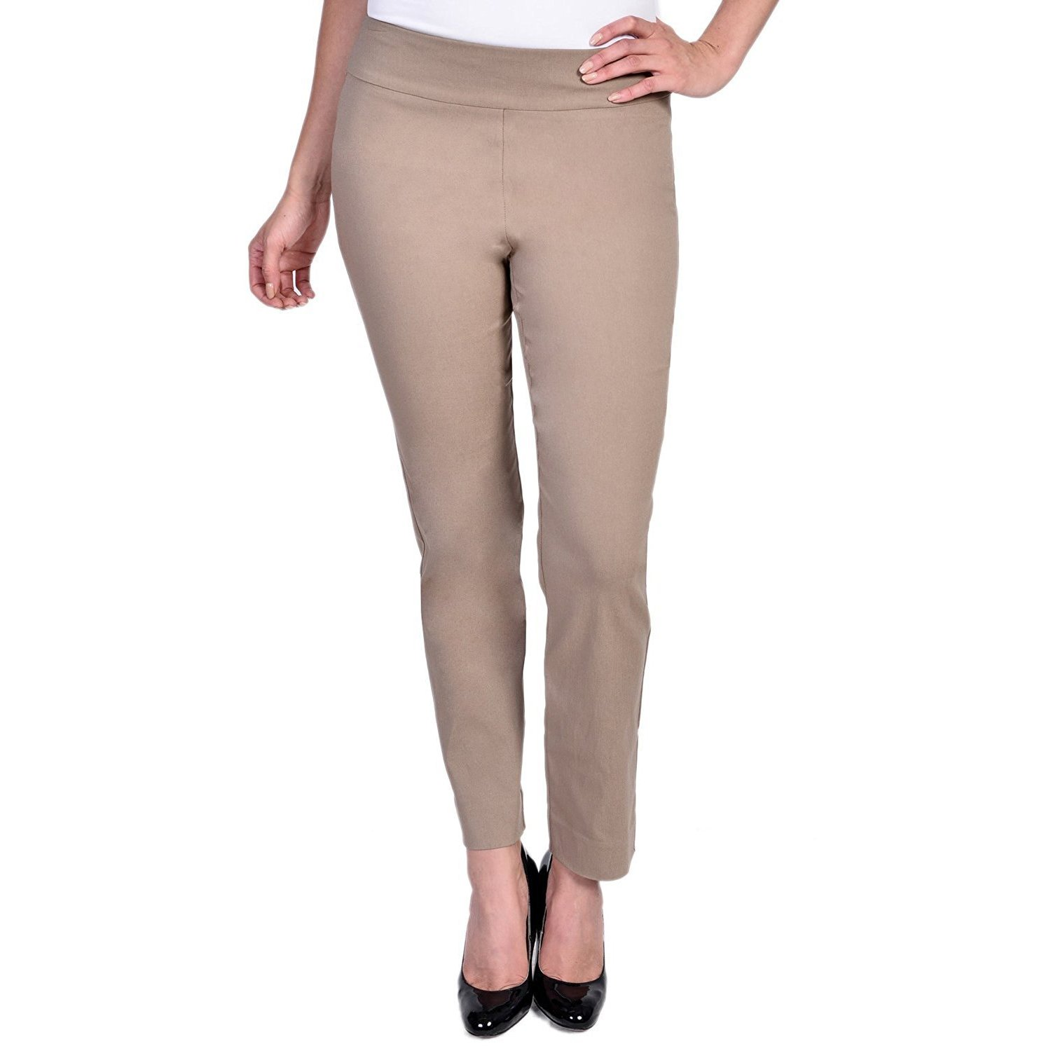 Krazy Larry Women's Pull-On Ankle Pants Taupe Pants