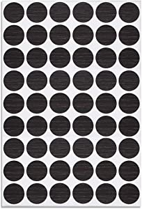 uxcell Screw Hole Covers Stickers Textured Plastic Self Adhesive Stickers for Wood Furniture Cabinet Shelve Plate 21mm Dia 54pcs in 1Sheet Black, PC-107