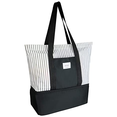 d189889f5c1e Image Unavailable. Image not available for. Color  SOONNIX Travel Tote Bag  Multifunction Work Lunch Shopping Handbag with Insulated Picnic Cooler Top  Zipper ...