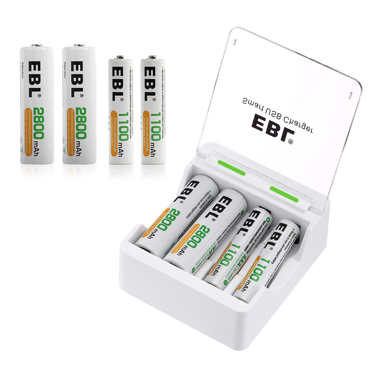EBL Smart USB Charger with AA 2800mAh (4 Pack) and AAA 1100mAh (4 Pack) Ni-MH Rechargeable Batteries