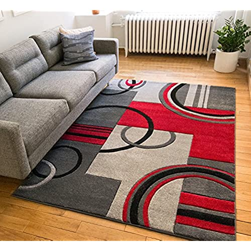 echo shapes circles red grey modern geometric comfy casual hand carved area rug 8x10 8x11 710 x 910 easy clean stain fade resistant abstract
