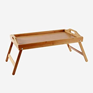 Folding Bamboo Serving Tray with Handles - Wood Table Trays for Eating Food - Portable, Breakfast, Dinner or Snack at Home (Bed, Couch, Chair) - TV Tray - Lap Desk for Laptop - Large and Roomy