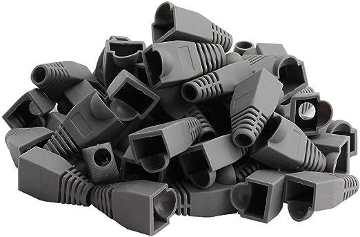 100PCS Gray Square Boots Cap Plug for RJ45 Cat5 Cat6 Modular Connector Network