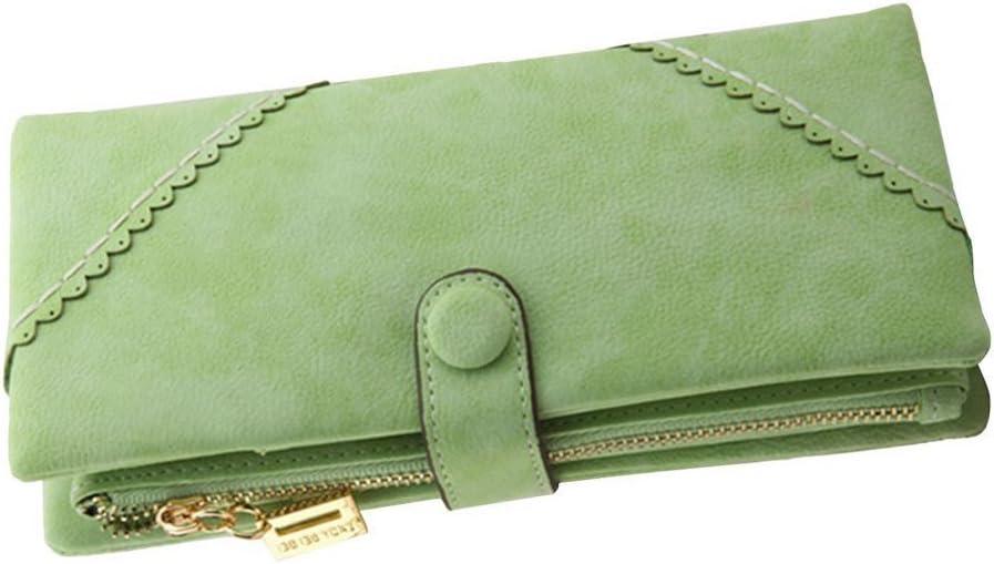 Bcony Moda Mujer Gran Capacidad Cartera/Monedero/Billetera/Bolso de la señora/de Cuero Larga con el botón y Construido en el Bolsillo de la Moneda,Verde