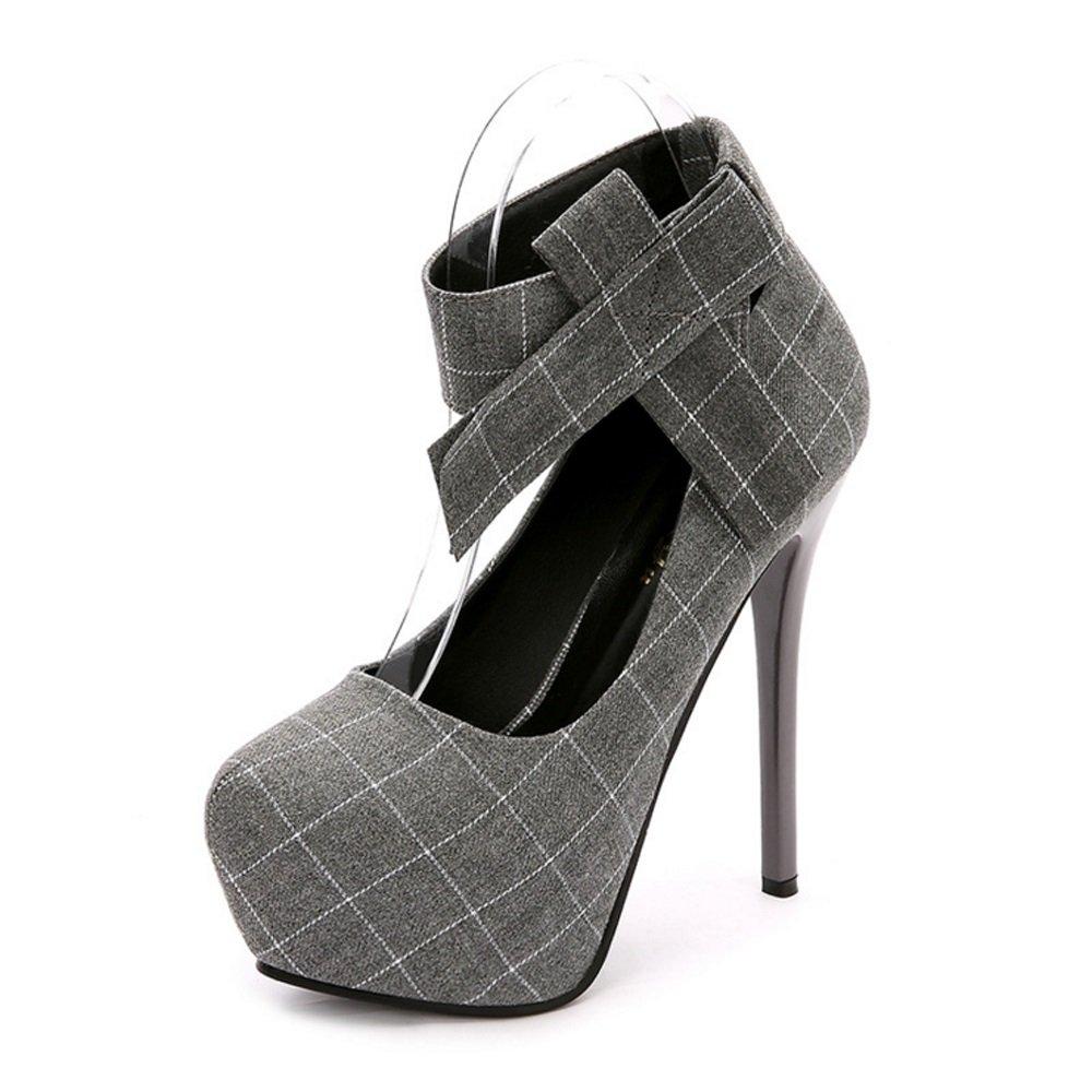 GAOLIXIA Schuhe Gingham Fliege Ankle Strap Schuhe Lady High Heels Schwarz Grau Plaid Damen High Heels Pumps Frühling Herbst Höhe 12cm   14cm Optional