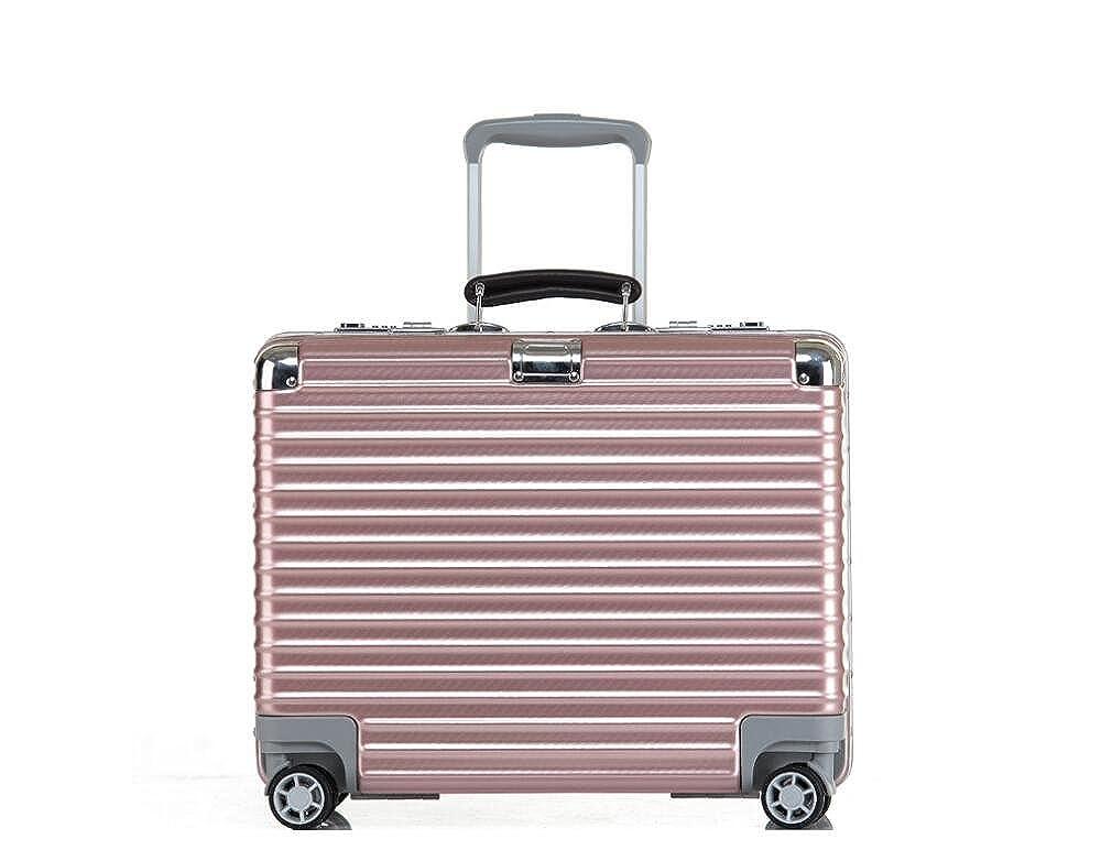 cas-05 18インチスーツケース 機内持ち込み可能 キャリーバッグ トランク TSAロック搭載 旅行バッグ PC+ABS  ピンク B06XWSSZ38