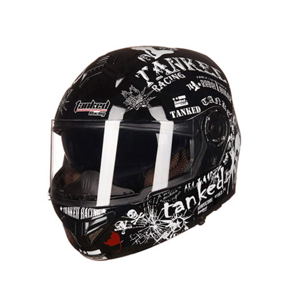 HYH オートバイヘルメットメンズダブルレンズフルカバーオープンフェイスヘルメット電動オートバイヘルメット - 黒と白 - 文字 いい人生 (Size : M) Medium  B07S3FDFCW