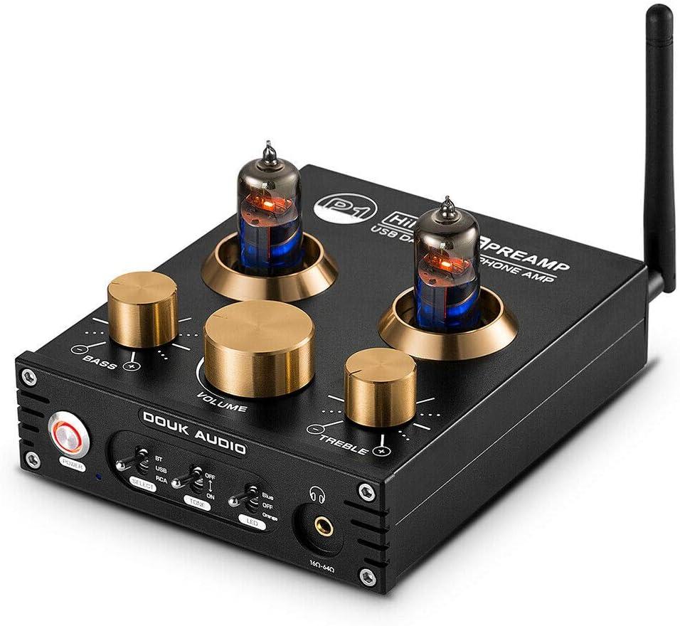 Douk Audio P1 Bluetooth 5.0 - Preamplificador para Tubos de vacío (Hi-Fi Valve Headphone Amplifier Wireless Receiver Audio Decoder Preamp USB DAC APTX)