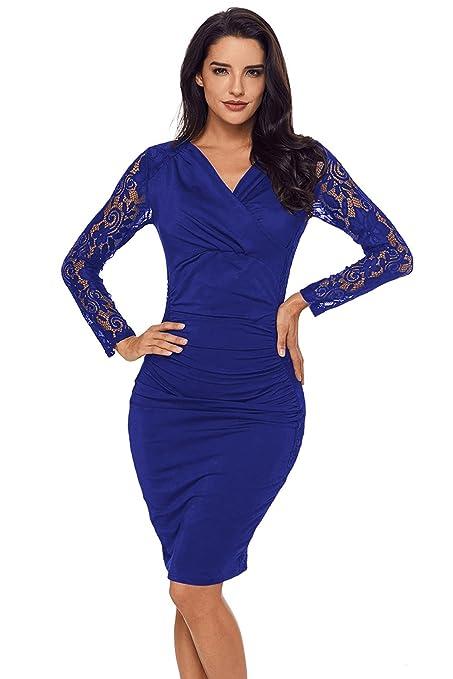 Vestido mediano, color azul, encaje, para fiestas, uso nocturno, oficina,