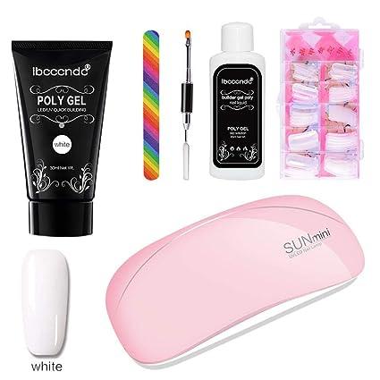 Amazon.com: MOGOI Poly Gel Nail Kit, Enhancement Nail Extension Kit ...