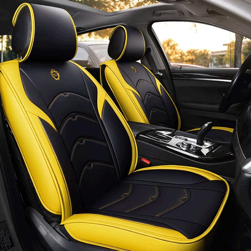 Car Seat Covers,Leather Full Set Universal Front Rear Seat Car Interior Four Seasons Seat Pad Fit 5 Seats Car Color : Black