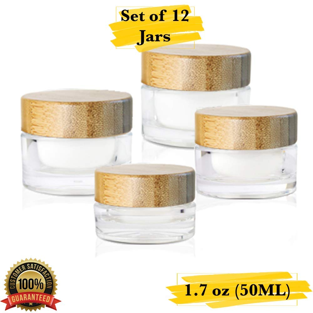 MM Packaging Luxury Cosmetic Jar, Acrylic Round Jars, Refillable Containers, 1.7 oz (50 ml) with Lids. (Set of 12, Bamboo Cap)