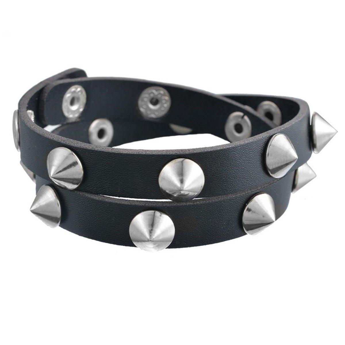 HooAMI Fashion Punk Style Rivet MultiLayer Rivet Leather Bracelet Wristband