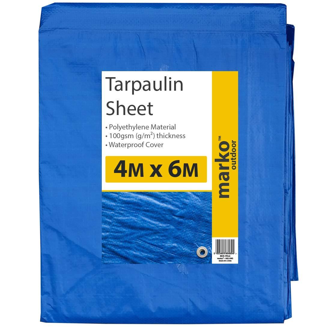 5 Sizes of Heavy Duty Tarpaulin Blue Waterproof Strong Cover Ground Sheet Tarp