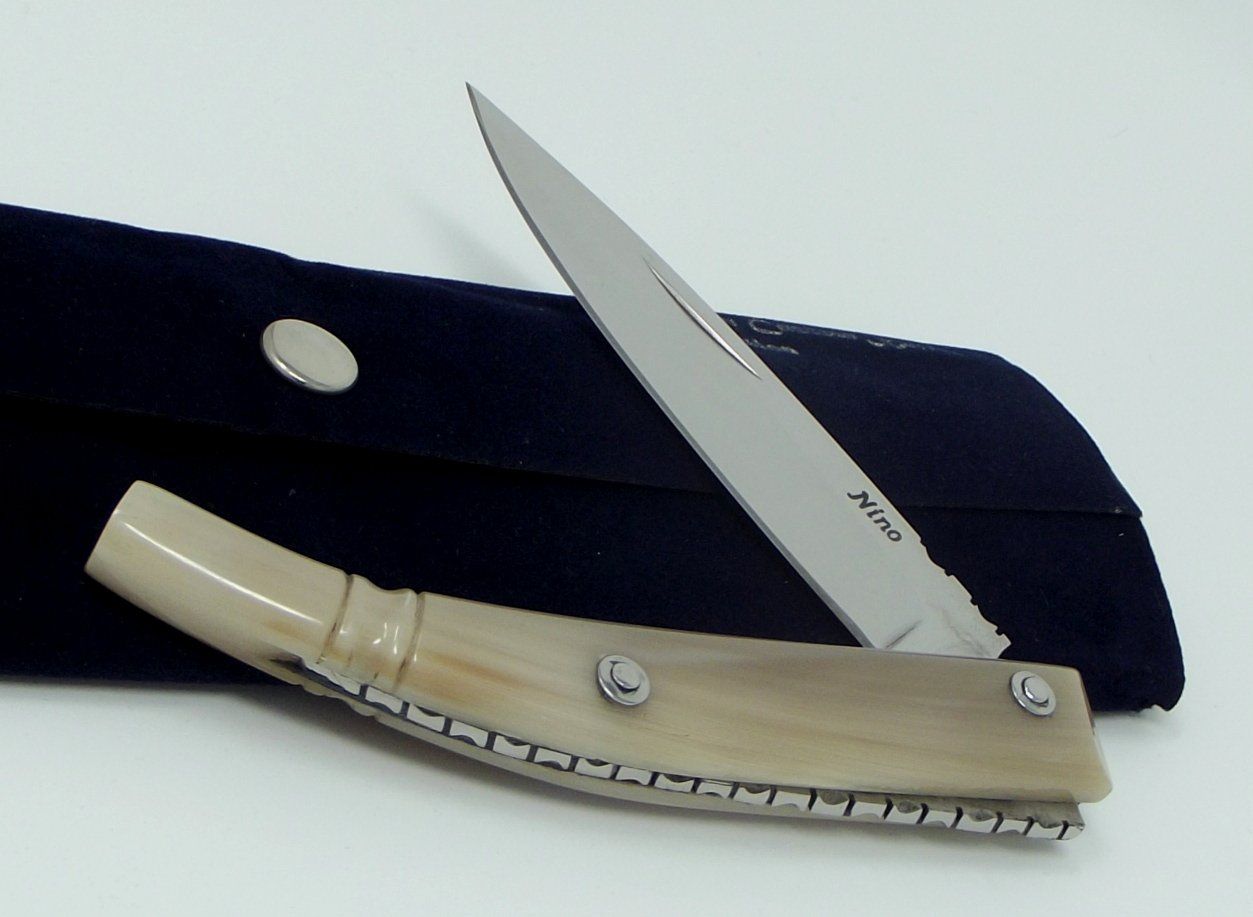 Italian Custom Knives Blonde Horn Handle Made in Italy Worked Spine