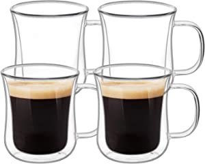 KTMAMA Double Wall Glass Coffee Mugs Set of 4 (6oz/180ml), Glass Cups for Hot Beverages,Thermal Insulated Borosilicate Glass Cups with Handle for Tea, Coffee, Latte, Cappuccino