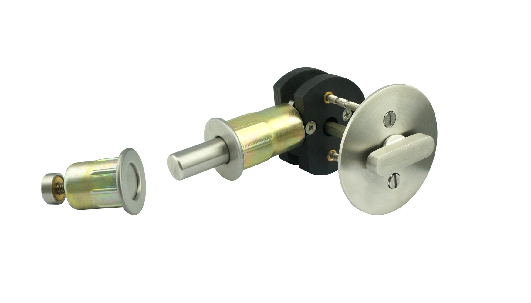 INOX EC1216-BD4214-32D 2-1/4'' BS TT16 Turn Barn Door Privacy Lock with Round Rose, 2.25'' Face, Satin Stainless Steel