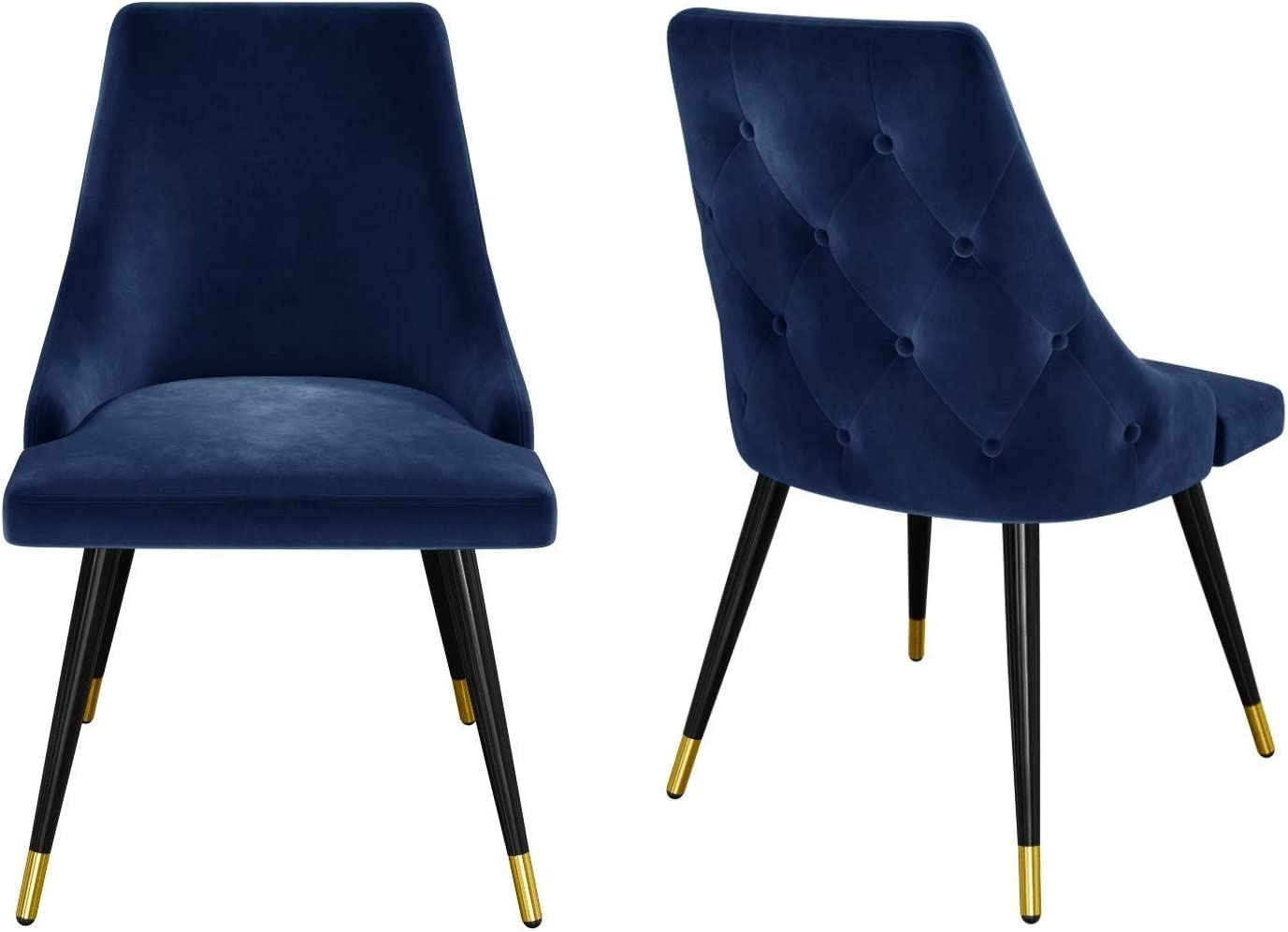 Maddy Navy Blue Velvet Dining Chairs With Button Back Black Legs Amazon Co Uk Kitchen Home
