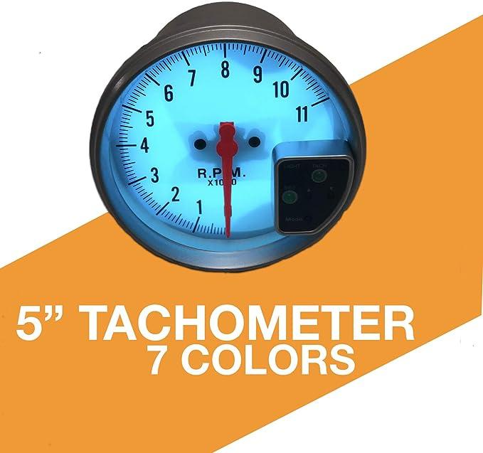 CIKARIO 5 inch 7 Color LED 11K 12V Electronical RPM Tachometer Rev Counter Gauge Red Shift Light White Face Auto JDM Universal 11000 Sport Meter Kit Car Accessories