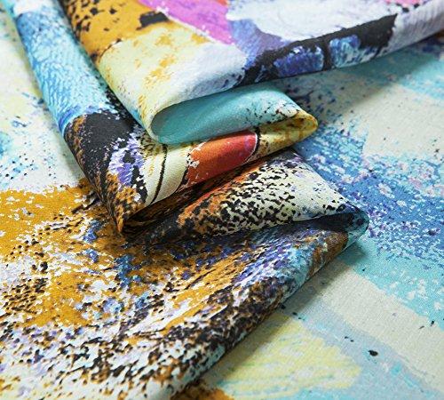 Printed Silk Cotton Fabric, Abstract Pattern, Blue, Slight Thin Sheer, 53.15