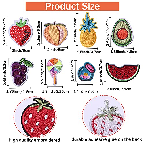 J.CARP 40Pcs Fruit Embroidered Iron on Patch for Clothes, Iron-on Patches / Sew-on Appliques Patches for Clothing, Jackets, Backpacks, Caps, Jeans