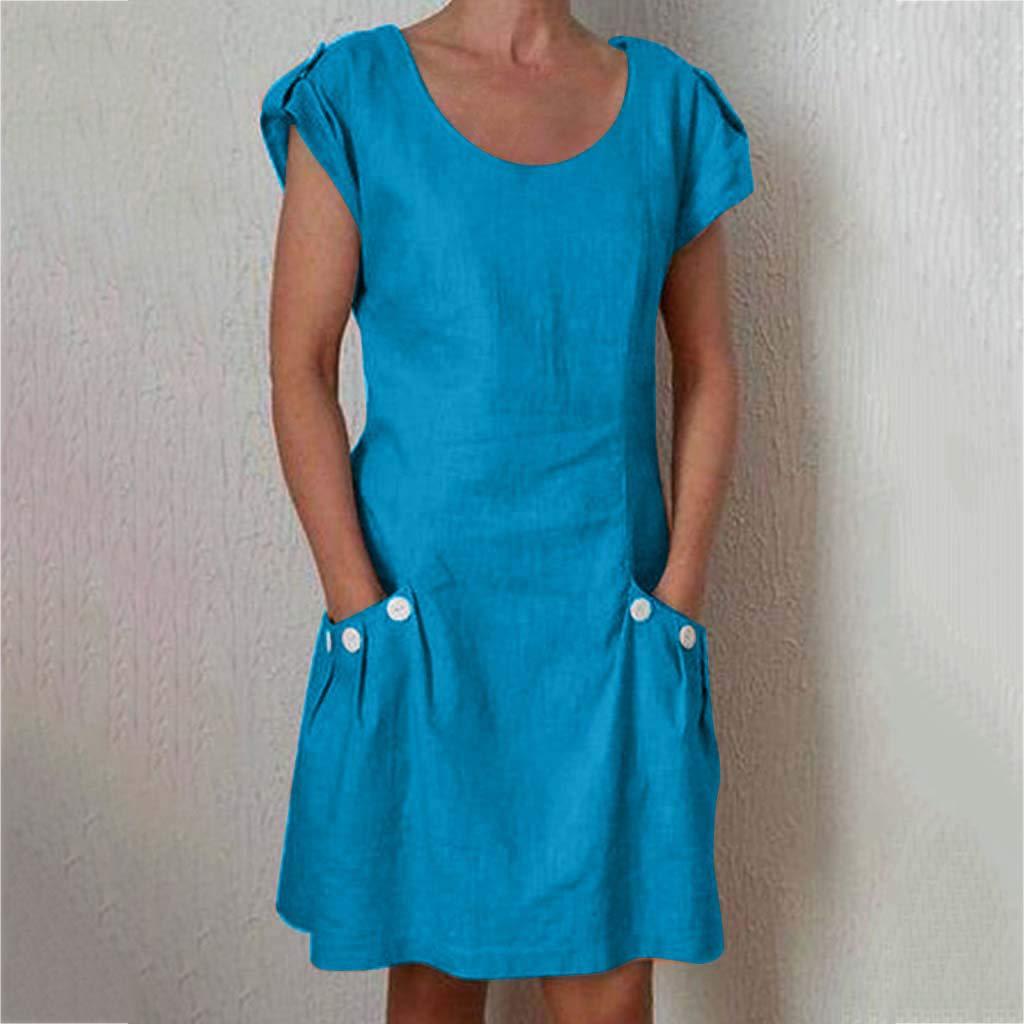 Duseedik Womens Dresses with Pocket Summer Casual Solid Cap Sleeve Dresses Plus Szie Cotton Linen O-Neck Daily Dresses