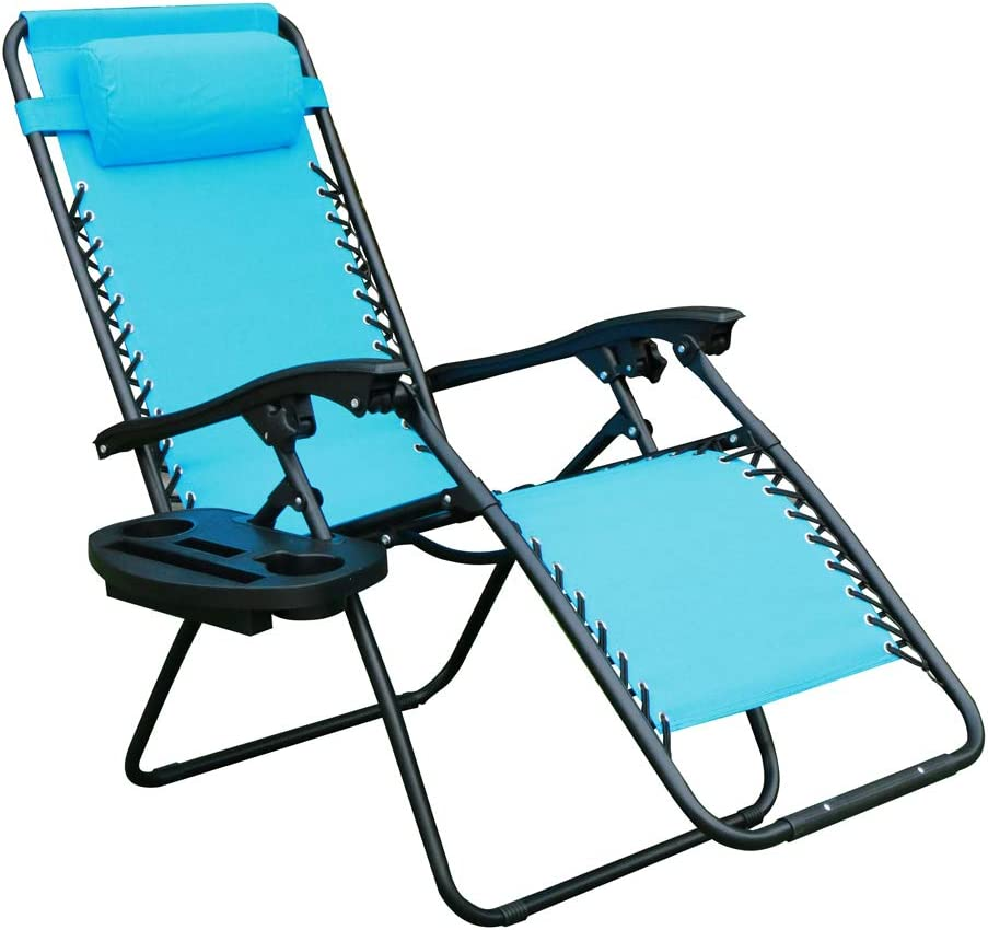 WEGO Zero Gravity Chair, Lawn Chair Flolding Recliner Lounge Chair with Removable Pillow and Side Table,Light Blue