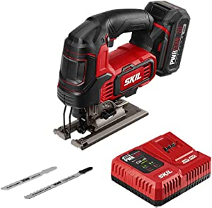 "SKIL PWRCore 20 Brushless 20V 1"" Stroke Jigsaw, Includes 2.0Ah Lithium Battery with PWRAssist USB & PWRJump Charger - JS820202"