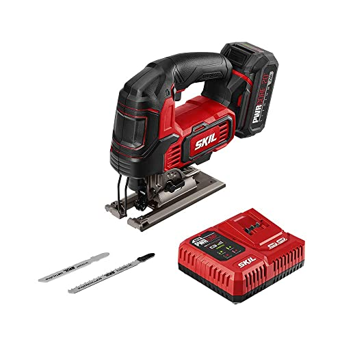 SKIL PWRCore 20 Brushless 20V 1 Stroke Jigsaw, Includes 2.0Ah Lithium Battery with PWRAssist USB PWRJump Charger – JS820202