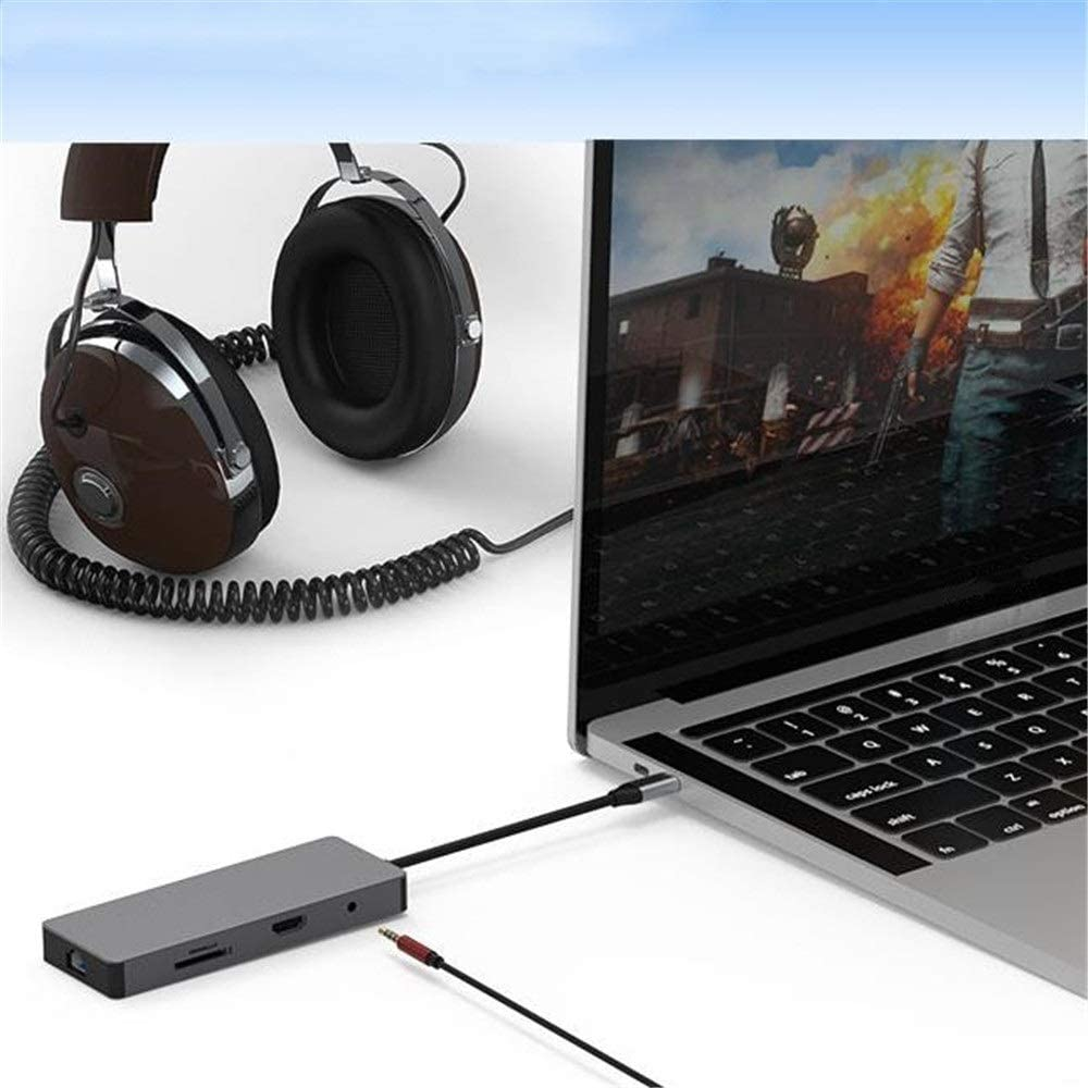 C Dock Station 9 in 1 USB C Hub with HDMI 4K LAN 3 USB 3.0 Ports 3.5mm Audio PD Charging Support SD TF Card Compatible for Flash Drive Notebook PC Ultra Slim Data Hub Yuybei USB Hub Type