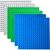 Halann Building Brick Baseplates,6 Pack Building Base Compatible with Duplo, Mega and Others Major Brand Bigger Size Bricks, Building Baseboard in Blue, Green, Gray, 10 x 10 Inch