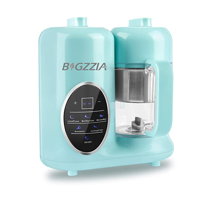 Baby Food Maker Bigzzia Baby Food Processor Puree Blender Multifunction Steamer Grinder Blender Touch Control Panel with Detachable Water Tank and Steam Basket & Bowl (Blue)
