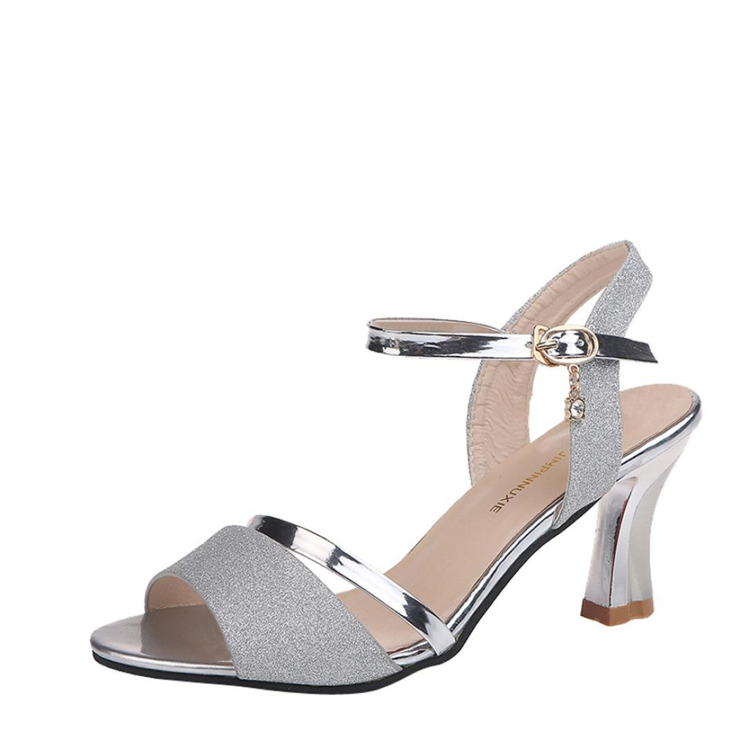 Women Shoes, Limsea Fashion Sequins Sandals Ankle High Heels Block Party Open Toe Shoes