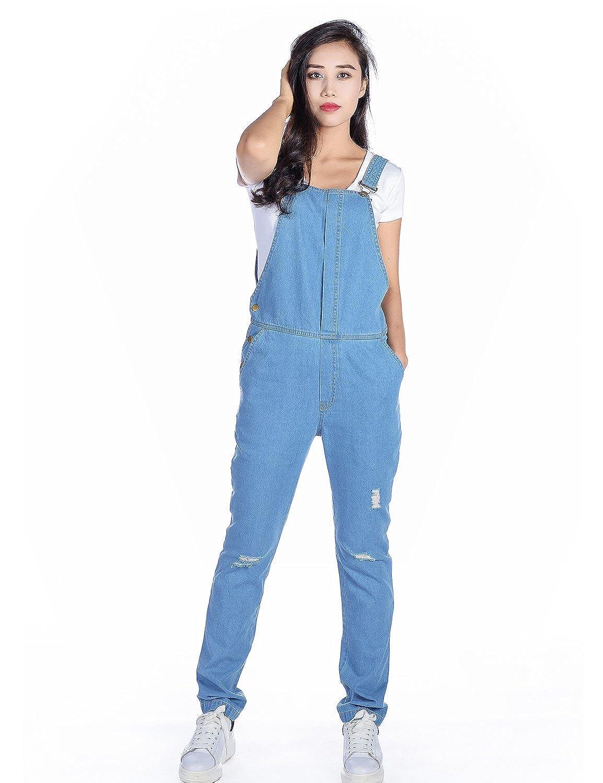 most desirable fashion dirt cheap new appearance Amee Hanke Women's Denim Bib Overall Slim Fit Broken Holes Jumpsuit Jeans  Pants
