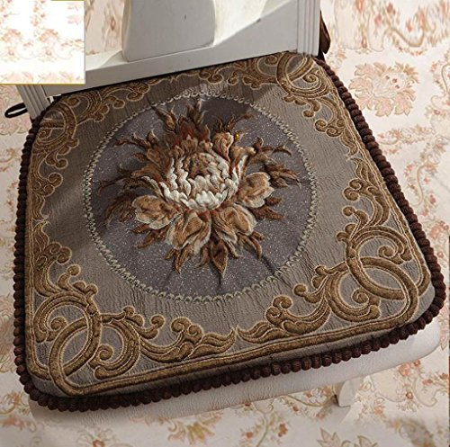Sideli -2pc Classic Decorative Chair pad Seat Cushion with Memory Filling and 2 Belt for Fix 16''x16'' (2, peony-coffee) by Sideli (Image #6)