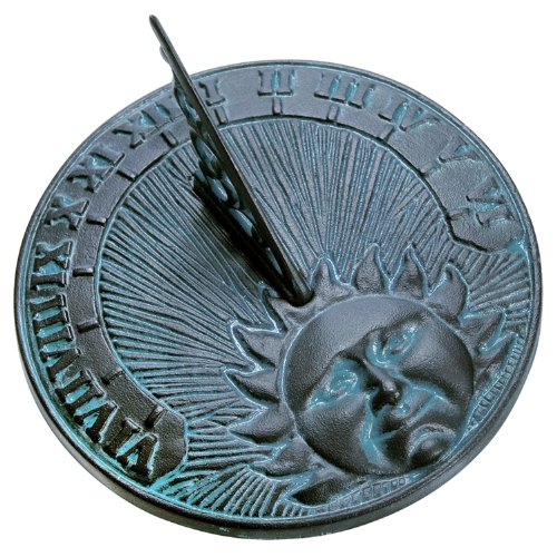 Rome 2518 Daybreak Sundial, Cast Iron with Verdigris Finish, 10.5-Inch Diameter
