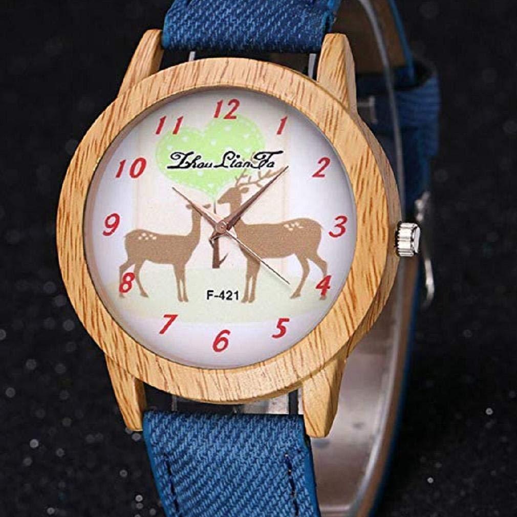Scpink Relojes de Cuarzo para Mujer, Modelo Elk navideño, separación de Relojes de señora, Relojes Femeninos para Mujeres, Estuche Redondo con Forma de ...