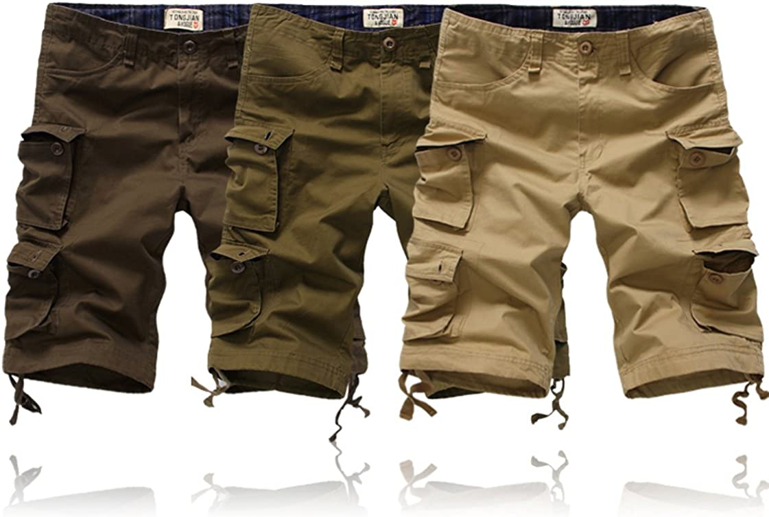 Tonwhar Mens Loose Fit Multi Pocket Cargo Shorts