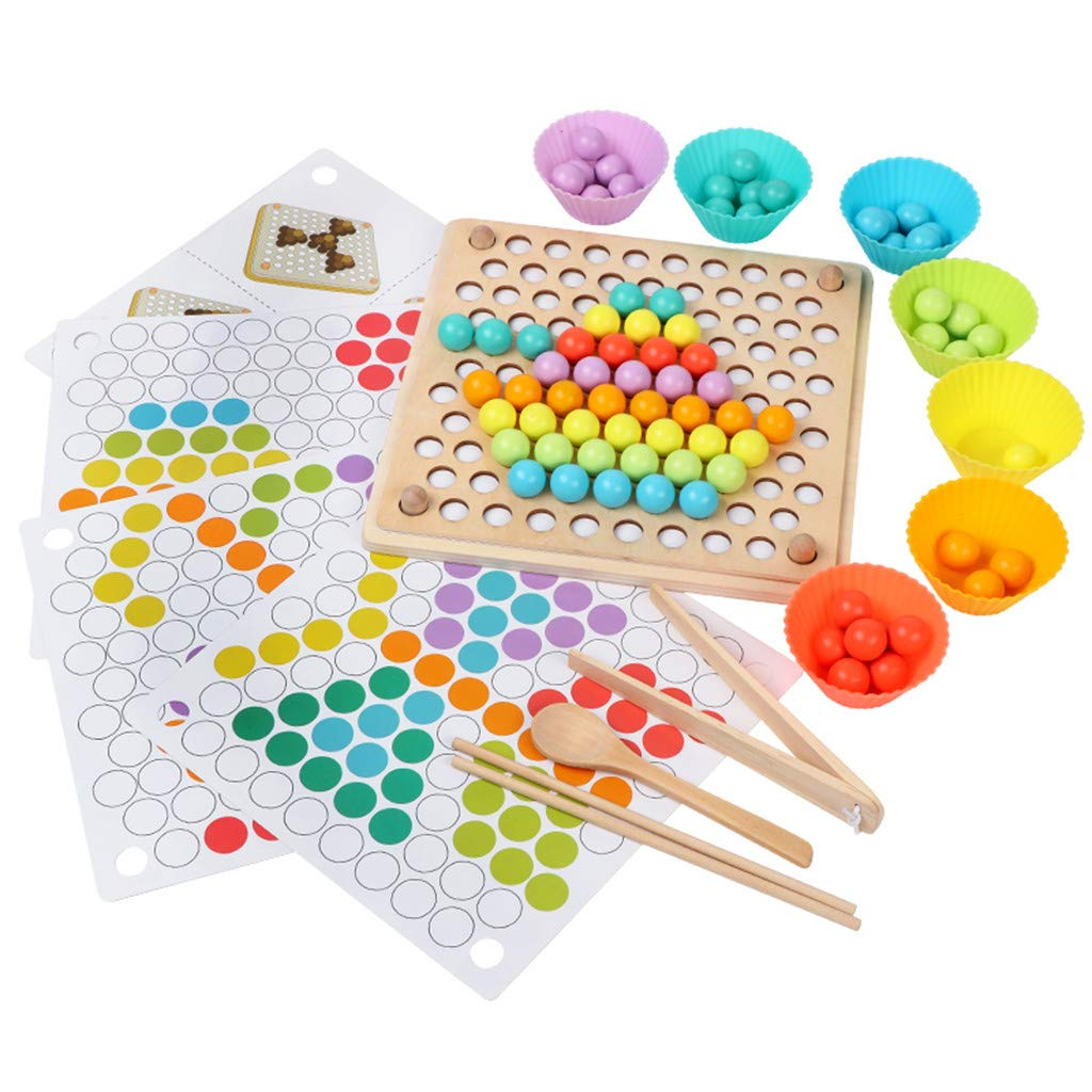 ℊeneral Toddler Game Color Classification Toy 77 Color Beads 5 Map Shape - Use Chopsticks / Spoon / Clip to Play Color Shape Matching Game