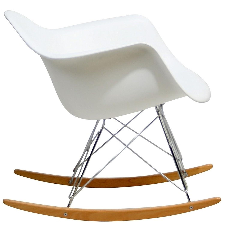 Rar rocking chairs eames style rar rocking arm chair grey - Amazon Com Modway Molded Plastic Armchair Rocker In White Kitchen Dining