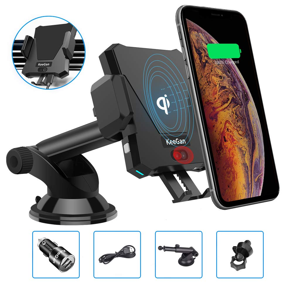 KeeGan Automaitc Car Mount Infrared Phone Holder, Fast Qi Wireless Car Charger Fits Smartphones