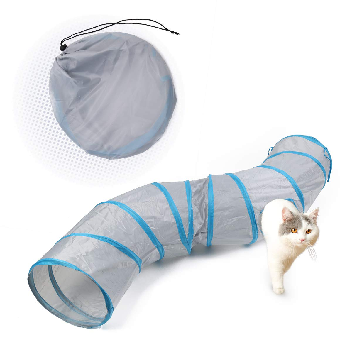 PAWZ Road Cat Toys S Way Cat Collapsible Tunnel for Fat Cat Upgraded Version 12'' Diameter Gray by PAWZ Road