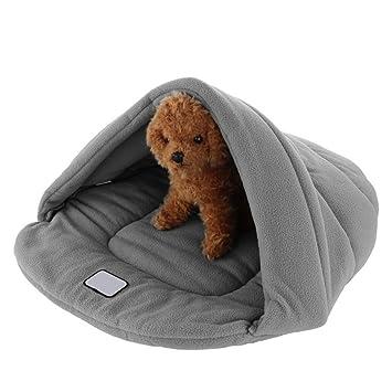 MIOIM Mascotas Perro Gato jerarquía del animal doméstico Cama caliente suave Cave House Saco de dormir de la estera del cojín S M L (Gris, L(54*48*20cm)): ...