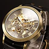 Pretty Birdy Vintage Bronze Case Automatic Mechanical Mens Skeleton Analog Clock Black Leather Strap Self Winding Men Steampunk Watch