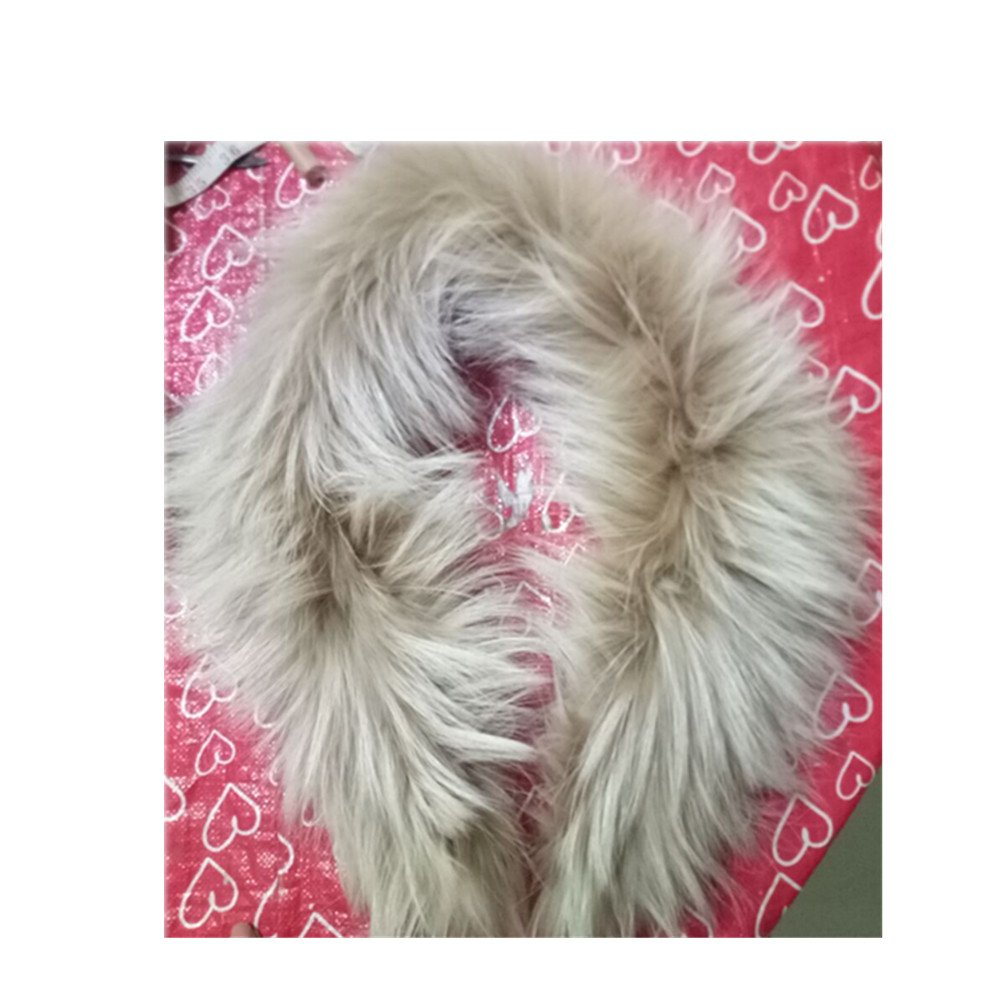 真アライグマ毛皮の襟マフラー生きgegefur女子6色 B07FC1Z75N  ライトイエロー 80cm