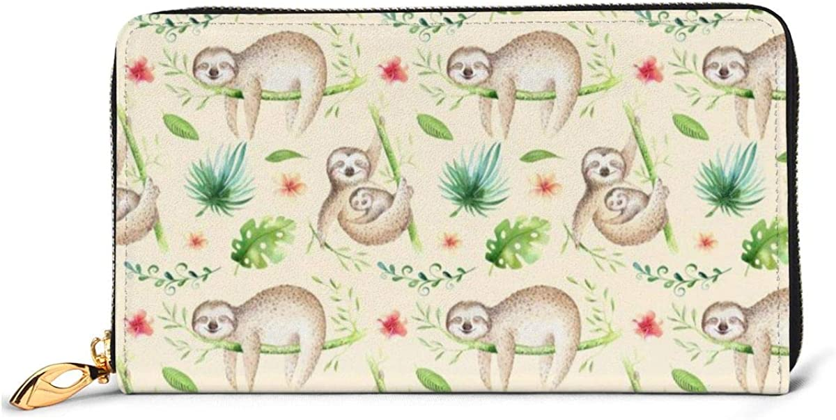 Baby Animals Sloth Nursery Wallets For Men Women Long Leather Checkbook Card Holder Purse Zipper Buckle Elegant Clutch Ladies Coin Purse